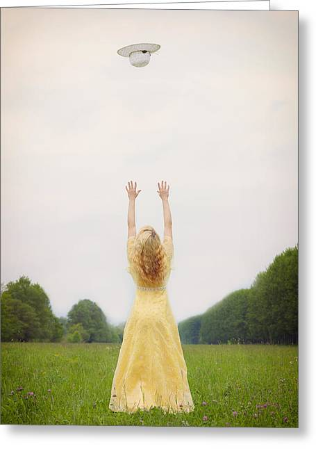 Vernal Greeting Cards - Girl On Meadow Greeting Card by Joana Kruse