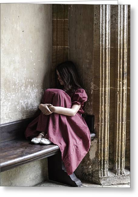Sit-ins Photographs Greeting Cards - Girl On Pew Greeting Card by Joana Kruse
