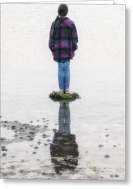Plaid Shirt Greeting Cards - Girl On Stone Greeting Card by Joana Kruse