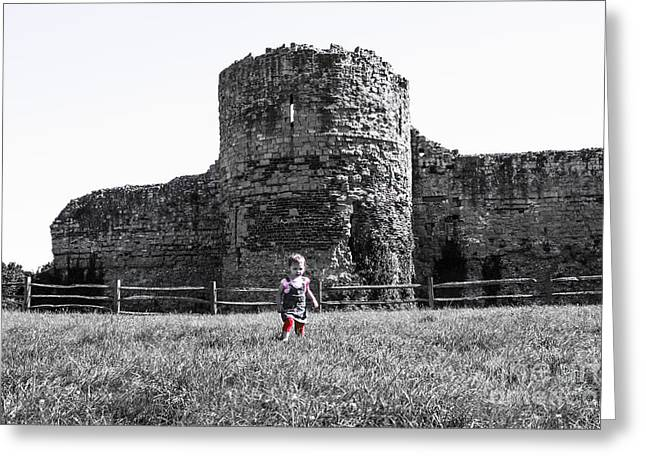 Polish Culture Greeting Cards - Girl On The Background Of Ruins Greeting Card by Babs Gorniak