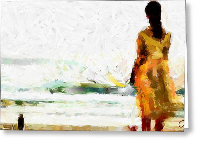Girl On The Beach Tnm Greeting Card by Vincent DiNovici