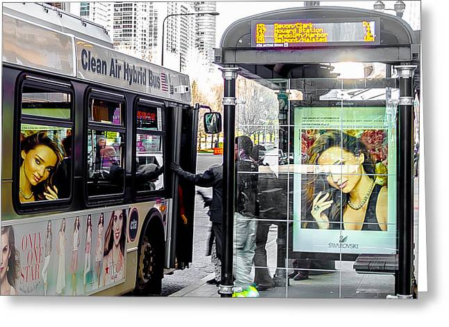 Bus Stop Greeting Cards - Girl on the Bus Greeting Card by Jim DeLillo