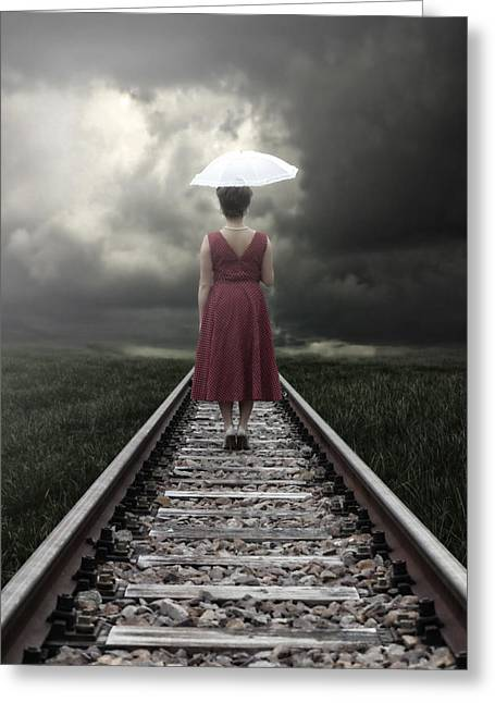 Anonymous Greeting Cards - Girl On Tracks Greeting Card by Joana Kruse
