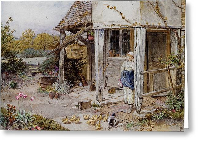 Country Cottage Digital Art Greeting Cards - Girl Outside a Cottage Greeting Card by Forest Myles Birket