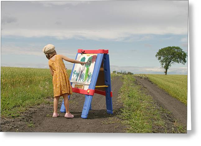 Rearview Greeting Cards - Girl Painting In Field Greeting Card by Mirek Weischel