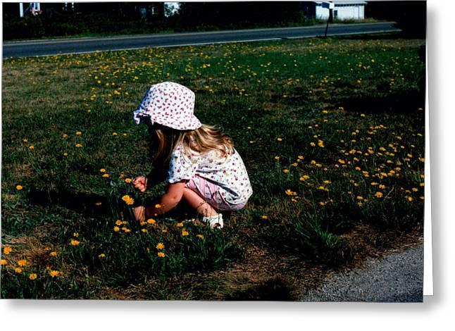 Toddler Girl Greeting Cards - Girl Picking Flowers Greeting Card by Ken Branch