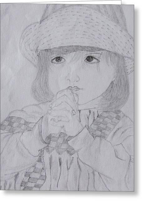Wishes Greeting Cards - Girl praying Greeting Card by Richa Sharma