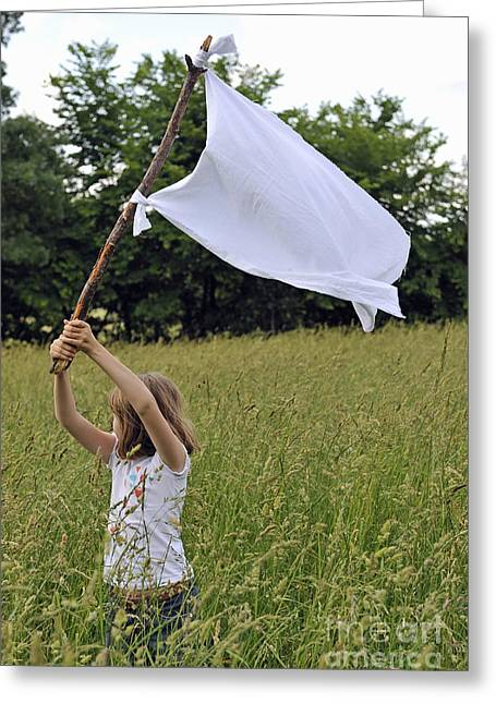 8-9 Years Greeting Cards - Girl raising the white flag in wheat field Greeting Card by Sami Sarkis