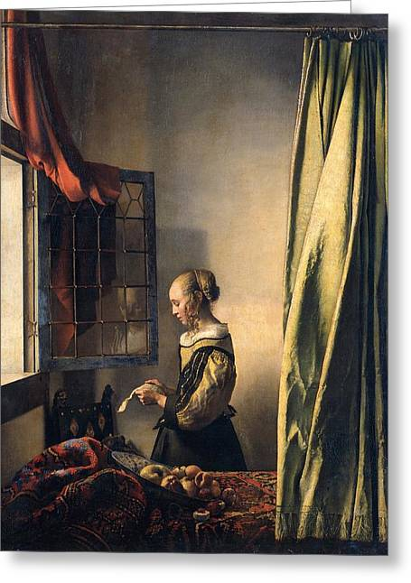 Reading By Window Greeting Cards - Girl reading a letter by an open window Greeting Card by Johannes Vermeer