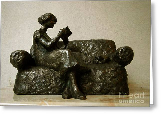 Realism Sculptures Greeting Cards - Girl reading a letter Greeting Card by Nikola Litchkov