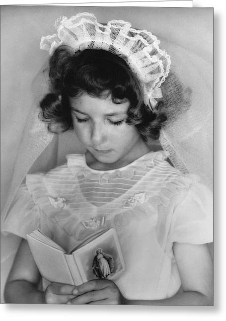 Girl Reading A Prayer Book Greeting Card by Underwood Archives