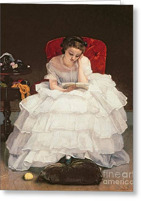 Concentrate Greeting Cards - Girl Reading Greeting Card by Alfred Emile Stevens