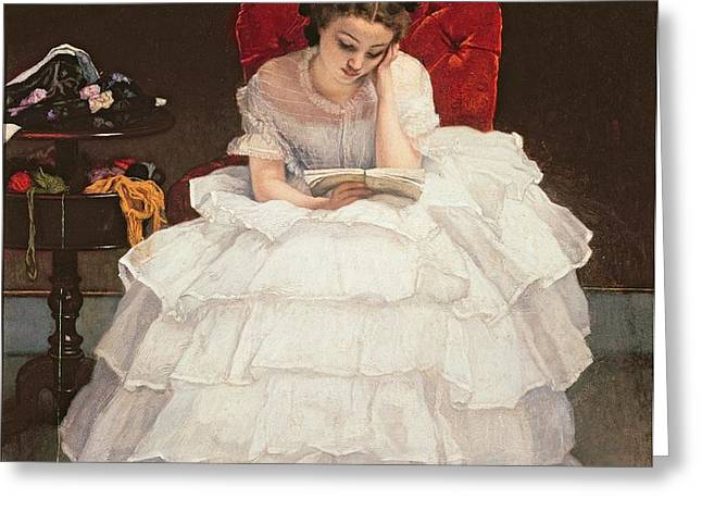 Girl Reading Greeting Card by Alfred Emile Stevens