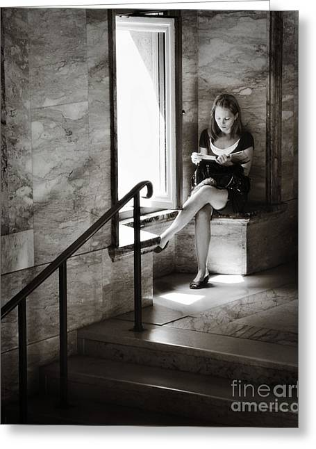 Well-dressed Greeting Cards - Girl Reading by The Window Greeting Card by Jim  Calarese