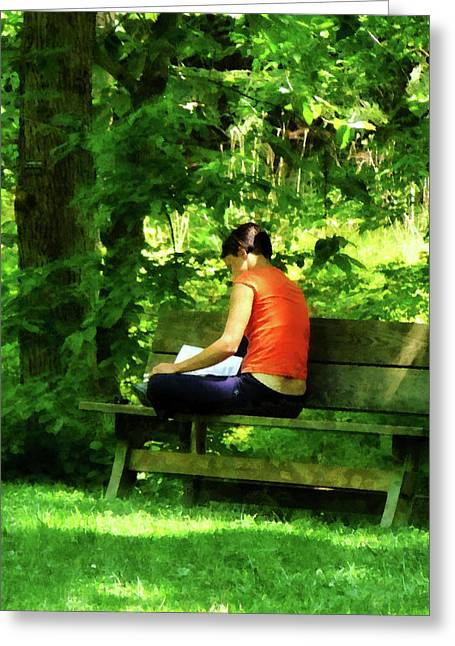 Books Greeting Cards - Girl Reading in Park Greeting Card by Susan Savad