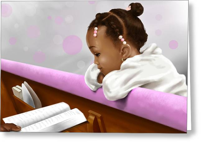 Child Jesus Greeting Cards - Girl Reading Neighbors Bible Greeting Card by Josh Kennedy