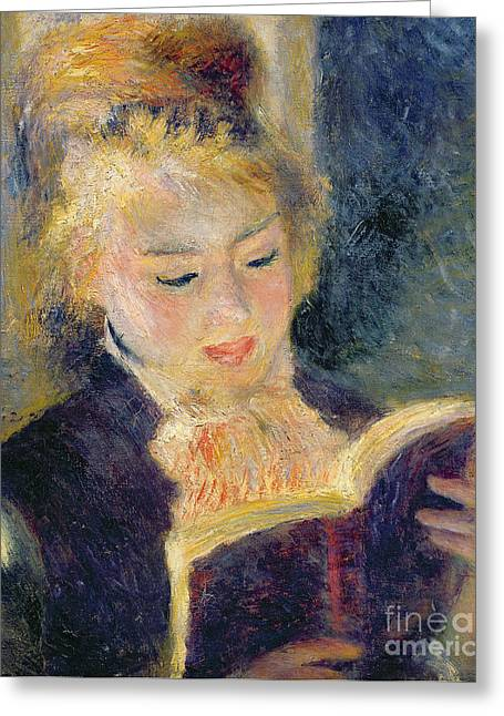 Sensitive Greeting Cards - Girl Reading Greeting Card by Pierre Auguste Renoir