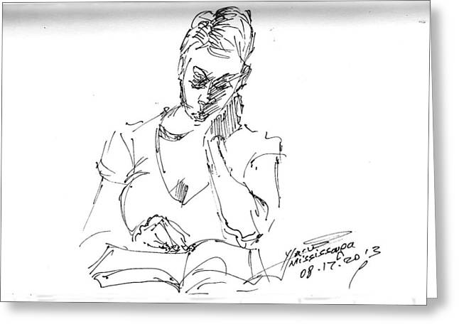 Book Drawings Greeting Cards - Girl Reading Greeting Card by Ylli Haruni