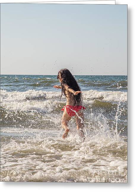 Surf Lifestyle Photographs Greeting Cards - Girl Running In Sea Greeting Card by Aleksey Tugolukov