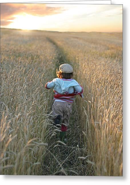 Whole Field Greeting Cards - Girl Running Through Wheat Field Greeting Card by Mirek Weischel