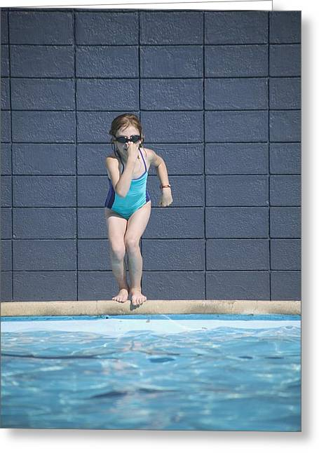 Recreational Pool Greeting Cards - Girl Runs Into Swimming Pool Greeting Card by Kelly Redinger