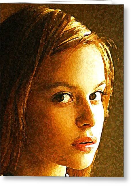 Abstract Expressionist Greeting Cards - Girl sans Greeting Card by Richard Thomas