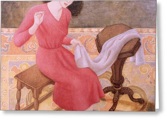 Girl Sewing, 1991 Greeting Card by Patricia O'Brien
