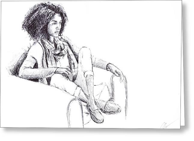 Sketchbook Greeting Cards - Girl Sitting - sketchbook Greeting Card by Lindsey Weimer