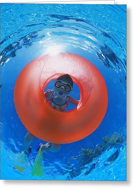Girl Snorkeling Greeting Card by Carson Ganci
