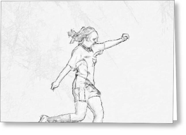 Childrens Book Greeting Cards - Girl Soccer Player Charcoal Sketch Greeting Card by Randy Steele