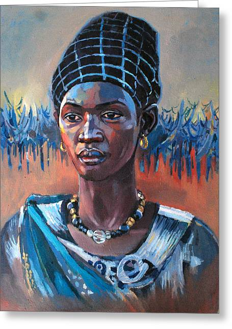 Mohamed Fadul Greeting Cards - Girl South Sudan Greeting Card by Mohamed Fadul