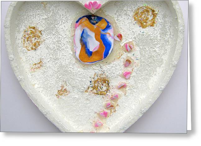 Rose Reliefs Greeting Cards - Girl spreading hearts whole artwork Greeting Card by Heidi Sieber