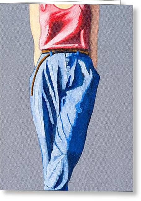 Hair Pulled Back Greeting Cards - Girl Standing Greeting Card by Kevin Hughes