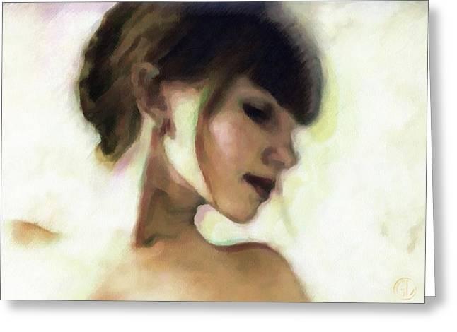 Girl Profile Greeting Cards - Girl study Greeting Card by Gun Legler