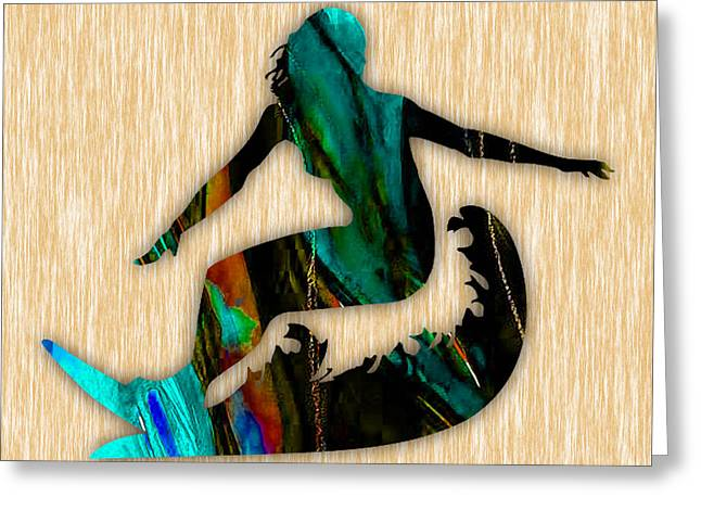 Girl Surfing Painting Greeting Card by Marvin Blaine