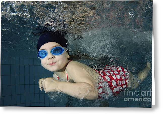 Buoyancy Greeting Cards - Girl Swimming Underwater Greeting Card by Photostock-israel