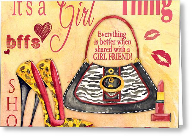 Girls Night Out Greeting Cards - Girl Thing-A Greeting Card by Jean Plout