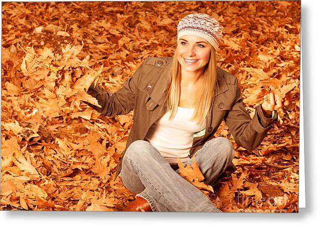 Throw Down Greeting Cards - Girl throwing up autumnal leaves Greeting Card by Anna Omelchenko