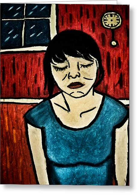 Lessons Pastels Greeting Cards - Girl Tormented Greeting Card by William Haley