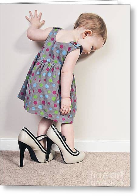 Dressing Room Greeting Cards - Girl trying Mums Shoes Greeting Card by Justin Paget