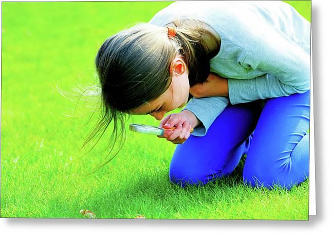 Girl Using A Magnifying Glass Greeting Card by Wladimir Bulgar
