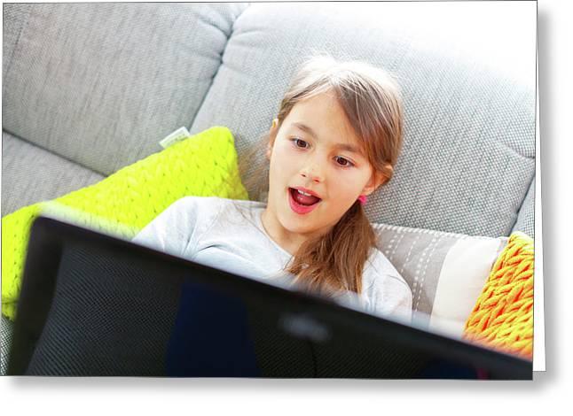 Girl Using Laptop With Surprised Face Greeting Card by Wladimir Bulgar