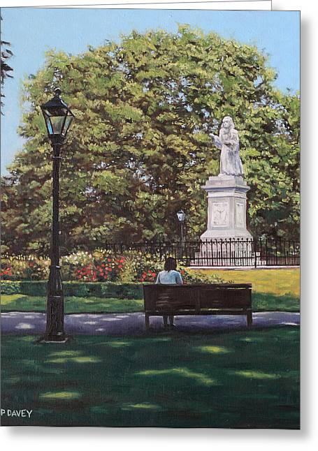 Southampton Paintings Greeting Cards - Girl Waiting at Southampton Watts Park Greeting Card by Martin Davey