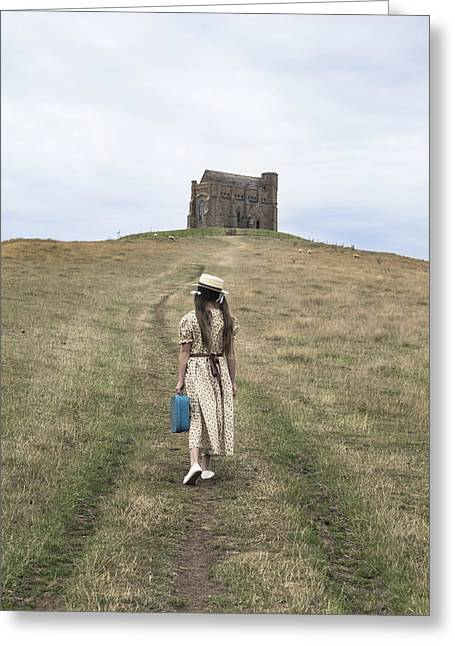 Sun Hat Greeting Cards - Girl Walks To A Chapel Greeting Card by Joana Kruse