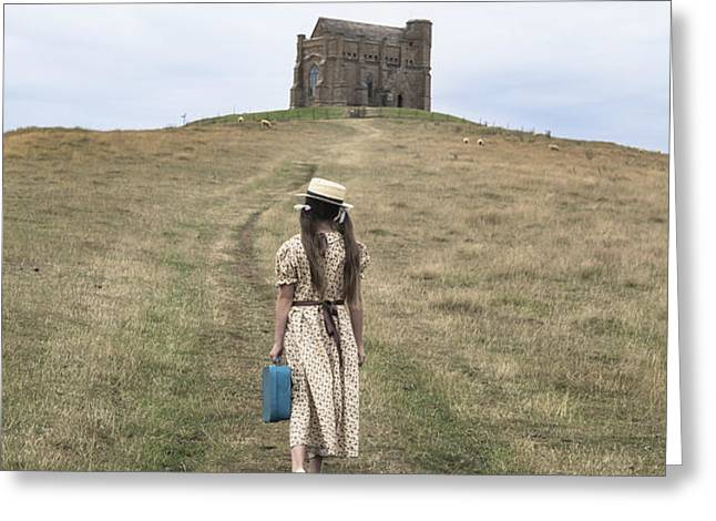 girl walks to a chapel Greeting Card by Joana Kruse