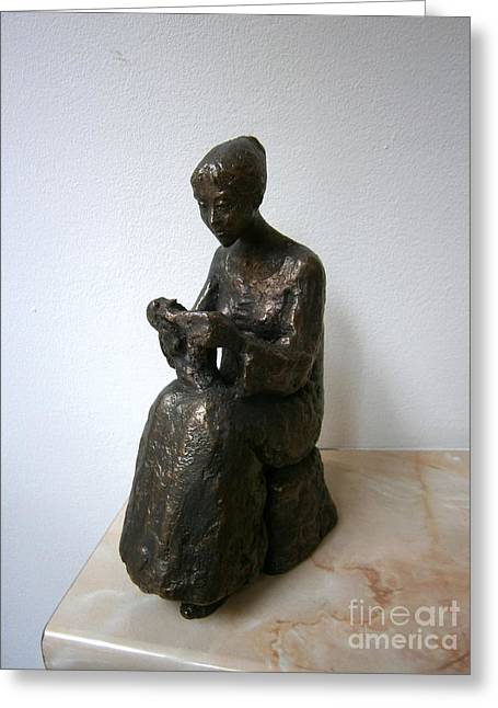 Girl Sculptures Greeting Cards - Girl who knits Greeting Card by Nikola Litchkov