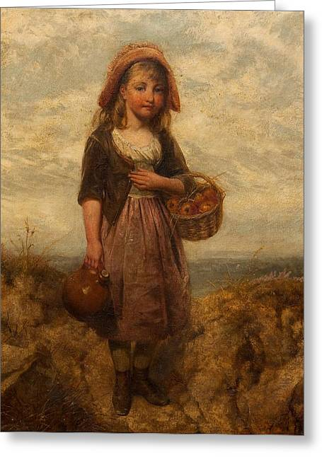 Picking Greeting Cards - Girl With A Basket Of Apples Greeting Card by Edward John Cobbett