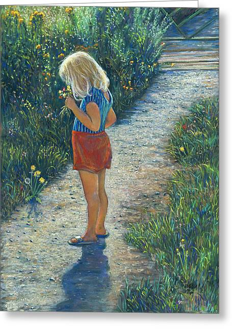 Birdseye Greeting Cards - Girl with a Bouquet Greeting Card by Nick Payne