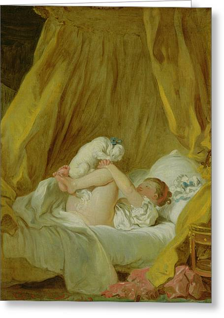 Honore Greeting Cards - Girl with a Dog Greeting Card by Jean Honore Fragonard