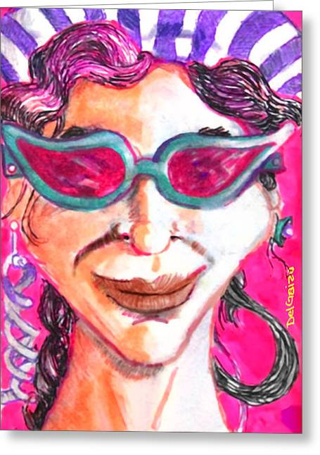 Helix Drawings Greeting Cards - Girl with a double helix earring Greeting Card by Del Gaizo